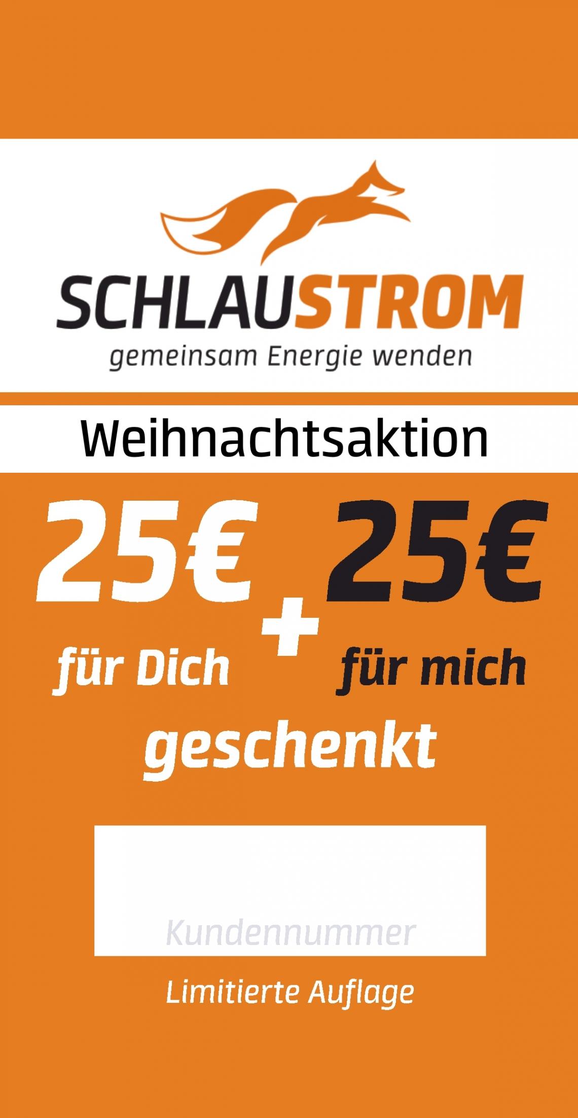 Aktion 25 Euro für dich 25 Euro für mich