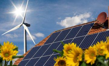Photovoltaik und Windrad mit Sonnenblumen