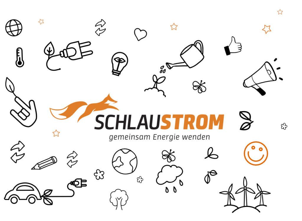 Woke mit Symbolen die etwas mit erneuerbarer Energie zum tun haben